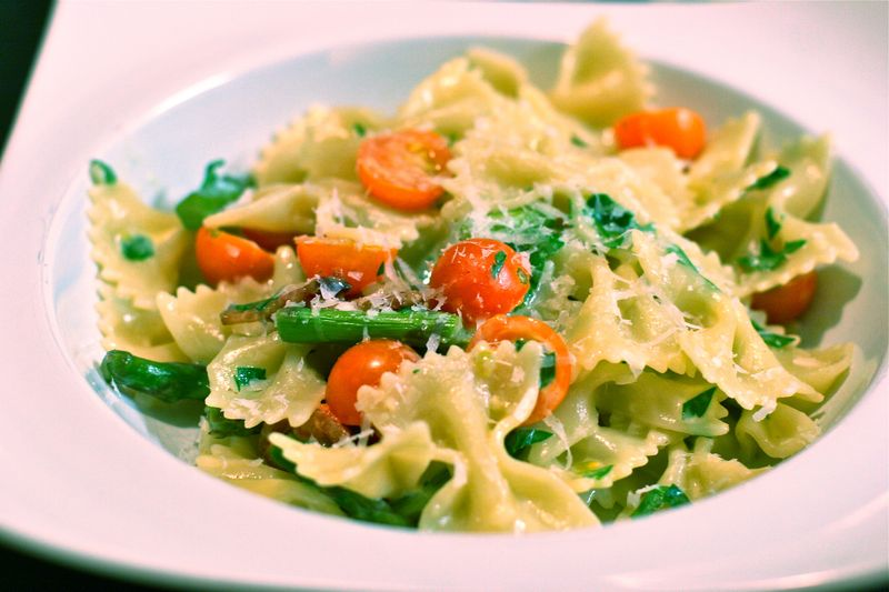 Farfalle with Asparagus and Cherry Tomatoes